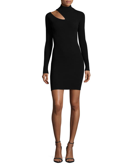 A.L.C. West Long-Sleeve Slit-Shoulder Fitted Sweater Dress