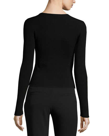 Alex Long-Sleeve Ribbed Peplum Top