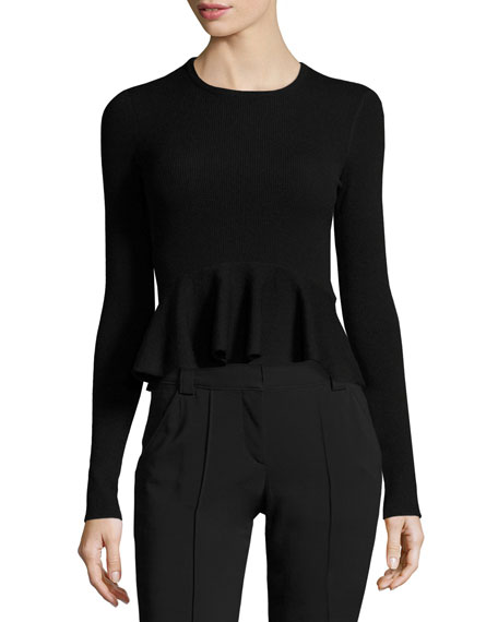 A.L.C. Alex Long-Sleeve Ribbed Peplum Top