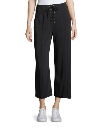 Kyle Lace-Front Cropped Gaucho Pants