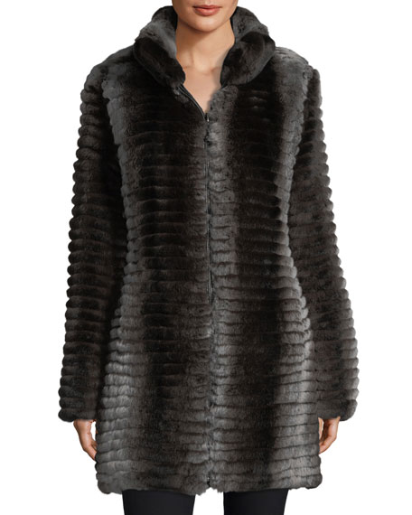 Belle Fare Reversible Layered Rabbit Fur Coat