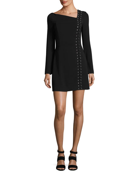 A.L.C. Luca Lace-Up Asymmetric-Neck Long-Sleeve Crepe Dress