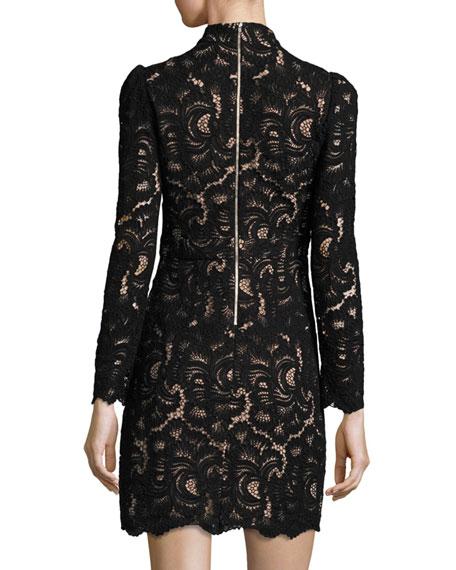 Nova Mock-Neck Long-Sleeve Lace Cocktail Dress