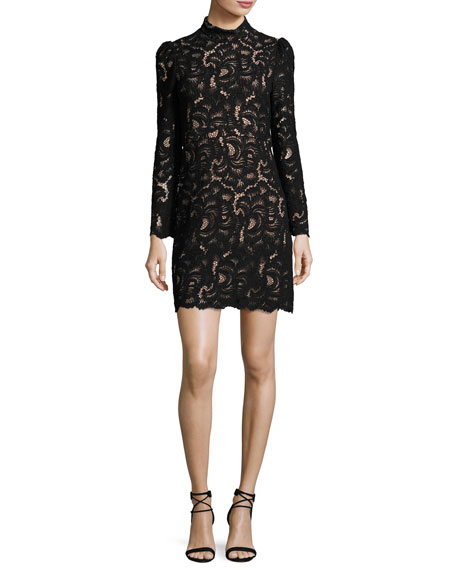 A.L.C. Nova Mock-Neck Long-Sleeve Lace Cocktail Dress