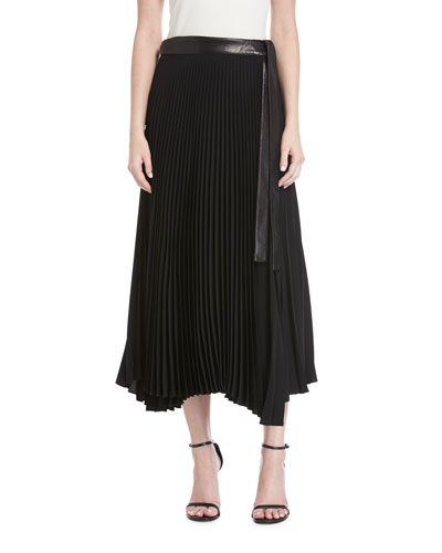 Anika Pleated A-Line Midi Skirt