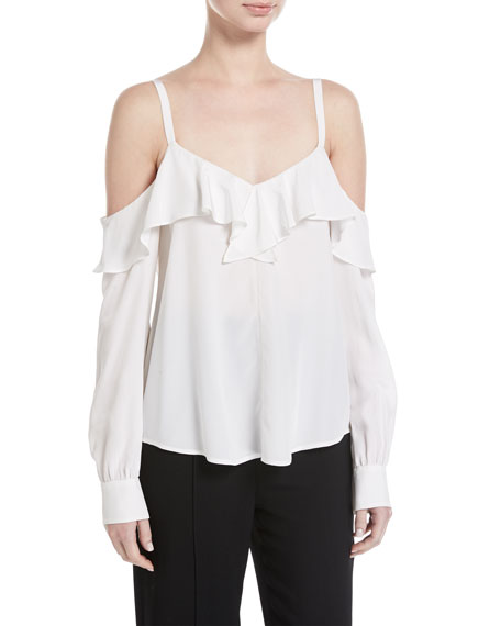 A.L.C. Felix V-Neck Cold-Shoulder Silk Top