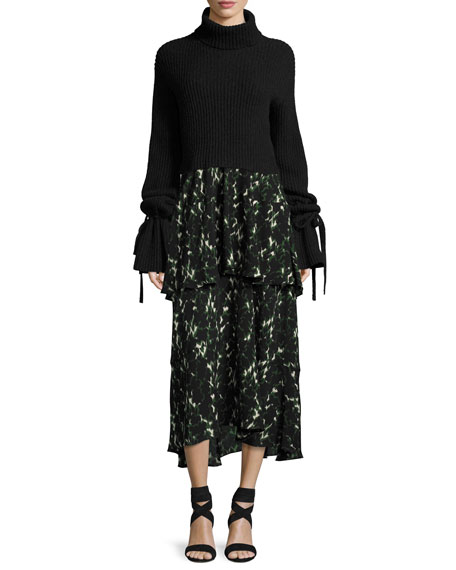 Wylon Sleeveless Printed Silk Maxi Dress
