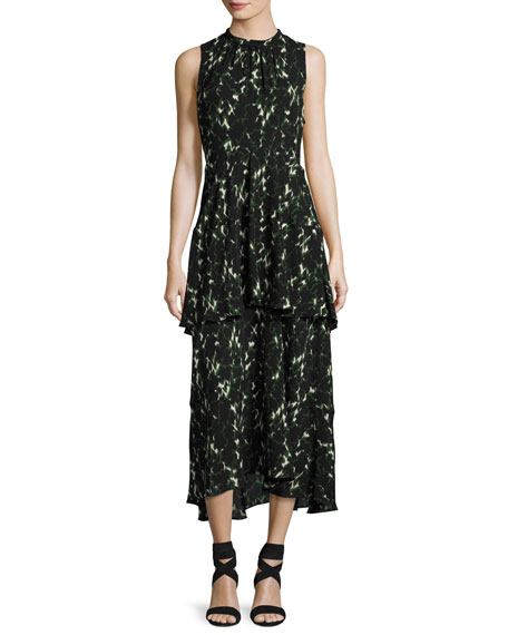 A.L.C. Wylon Sleeveless Printed Silk Maxi Dress and