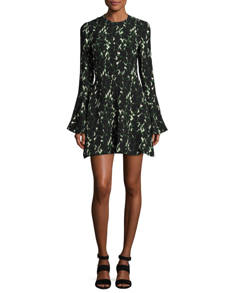A.L.C. Trixie Long-Sleeve Printed Silk Dress