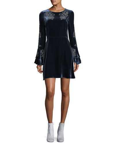 Donatella Round-Neck Long-Sleeve Velvet Dress w/ Embellishments