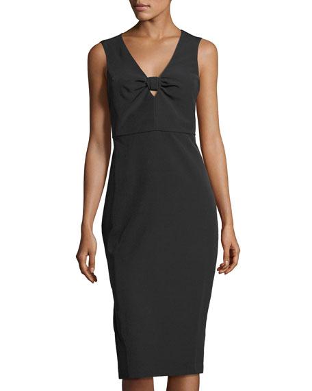 Bow-Detail Midi Sheath Dress
