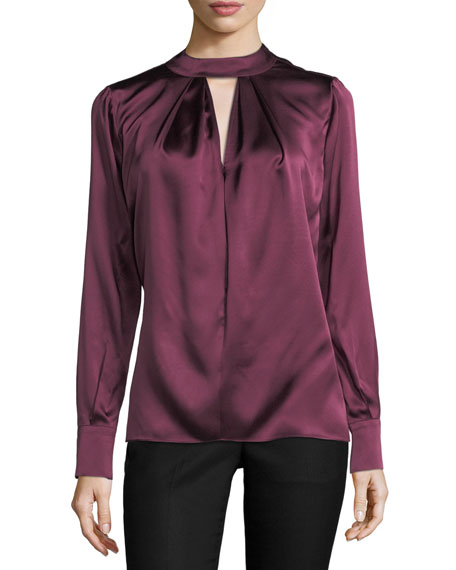 Parker Eleanor Mock-Neck Long-Sleeve Satin Blouse