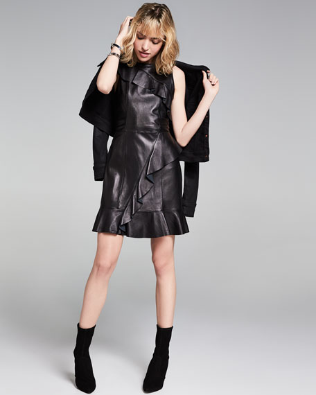 Hollywood Leather Cocktail Dress w/ Ruffled Trim