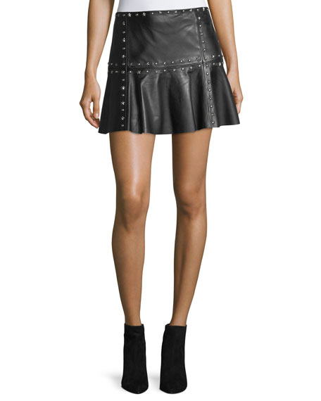 Parker Cyrus Studded Leather Flounce Mini Skirt