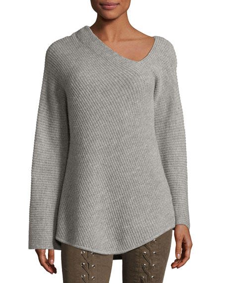 Charly One-Shoulder Long-Sleeve Wool Sweater