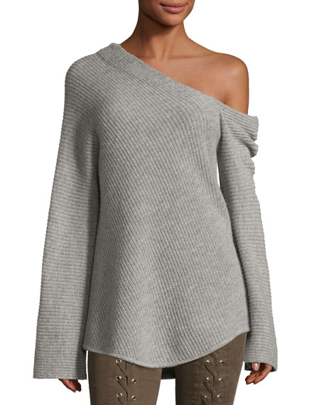 A.L.C. Charly One-Shoulder Long-Sleeve Wool Sweater