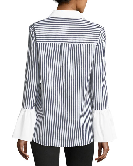 Striped Contrast-Trim Blouse