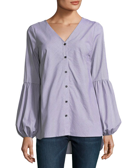 Puff-Sleeve Button-Front Blouse