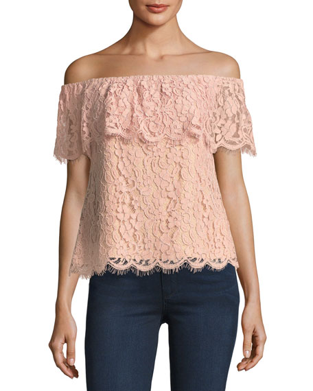 English Factory Off-the-Shoulder Lace Top