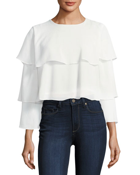 Long-Sleeve Ruffle Crop Top