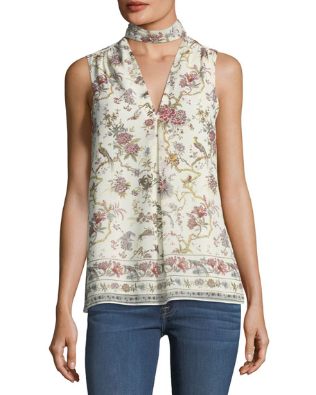 Choker-Collar Floral-Print Blouse