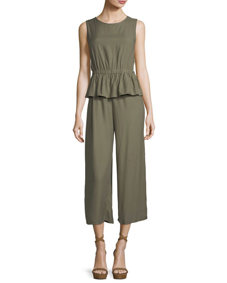 Max Studio Twill Peplum Crop Jumpsuit