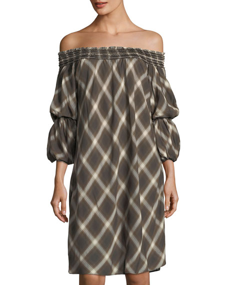 Max Studio Plaid Off-the-Shoulder Shift Dress