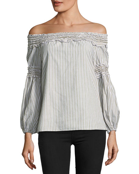 Smocked Off-the-Shoulder Blouse