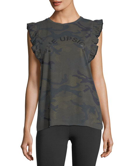 Camo Frill Cotton Muscle Tank Top