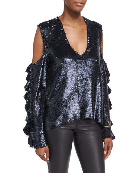 Waleast V-Neck Cold-Shoulders Ruffled Sleeves Sequin Top