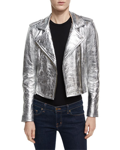 Axelle Metallic Leather Motorcycle Jacket