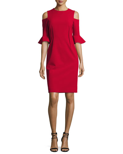 Cold-Shoulder Stretch-Crepe Mini Sheath Dress