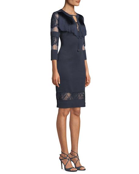 Round-Neck Neoprene Cocktail Dress w/ Lace & Fringe Detail