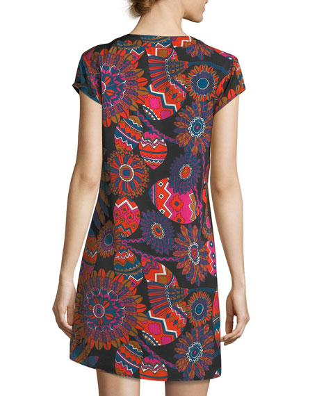 Psychedelic Floral-Print Shift Dress