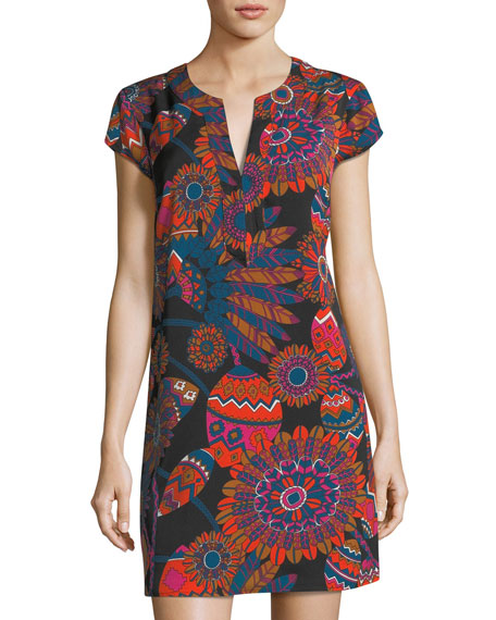 Julie Brown Psychedelic Floral-Print Shift Dress