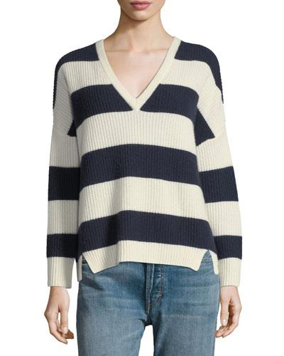 Addison V-Neck Long-Sleeve Striped Sweater