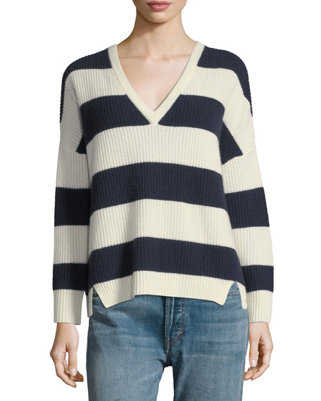 Kule Addison V-Neck Long-Sleeve Striped Sweater