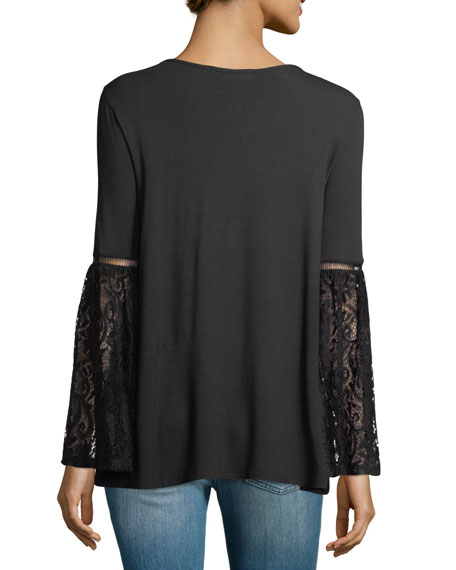 Lace-Sleeve Jersey Tee