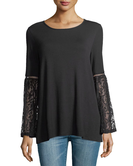 Casual Couture Lace-Sleeve Jersey Tee