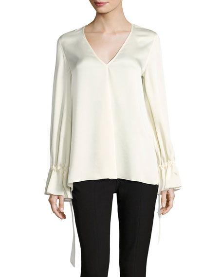 Elizabeth and James Adalina V-Neck Tie-Cuff Satin Blouse