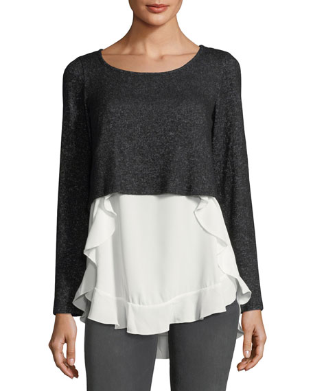 Casual Couture Mixed-Media High-Low Ruffle Sweater