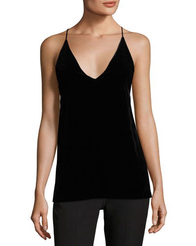 Elliott V-Neck Sleeveless Velvet Tank