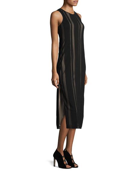 Talla Sleeveless Striped Mesh Cutout-Back Midi Dress