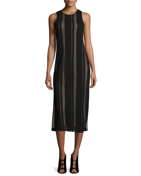 Talla Sleeveless Striped Mesh Cutout-Back Midi Dress