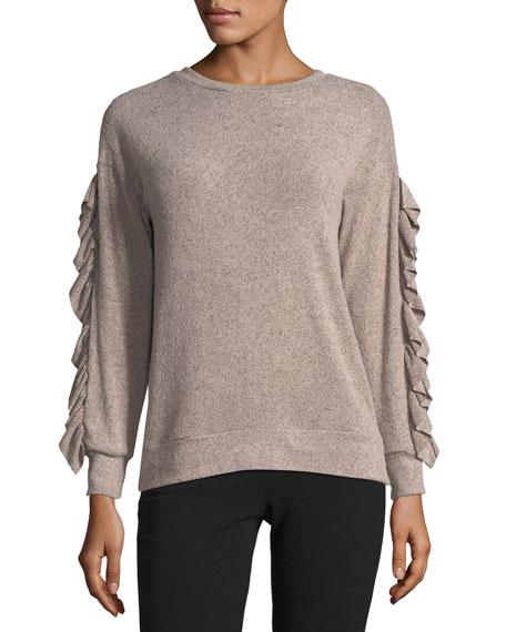 Ruffled-Trim Marled Sweater