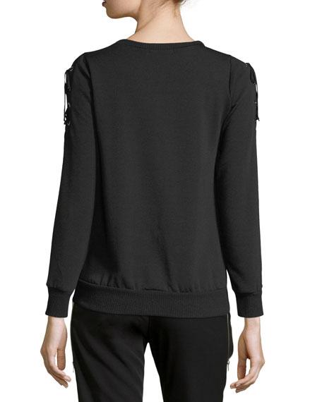Lace-Up Sleeve Sweatshirt