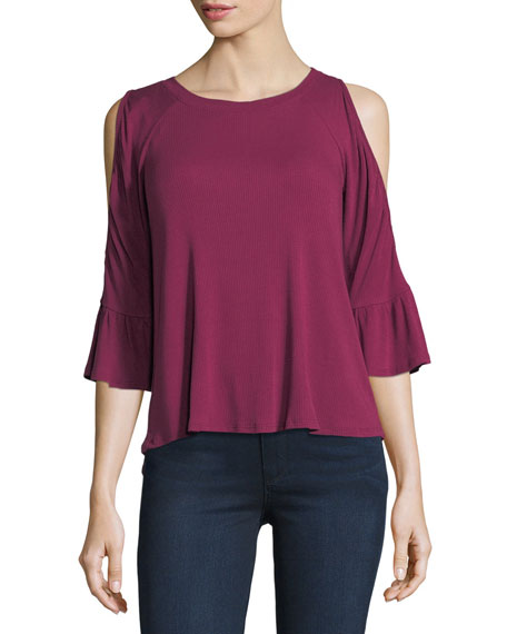 Cold-Shoulder Bell-Sleeve Top