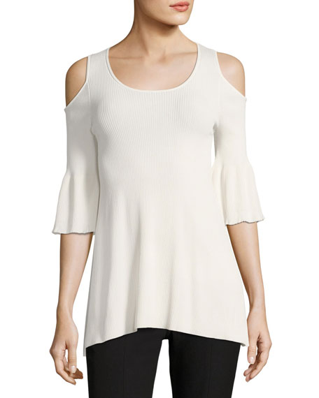 Elizabeth and James Hennie Cold-Shoulder Round-Neck Peplum Top