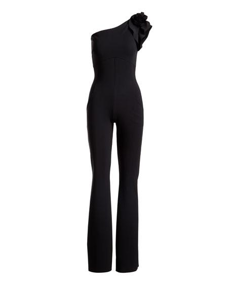 Harry One-Shoulder Wide-Leg Jersey Jumpsuit w/ Rose Details