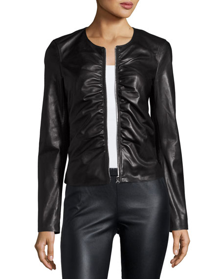 Elizabeth and James Jean Ruched Zip-Front Leather Moto
